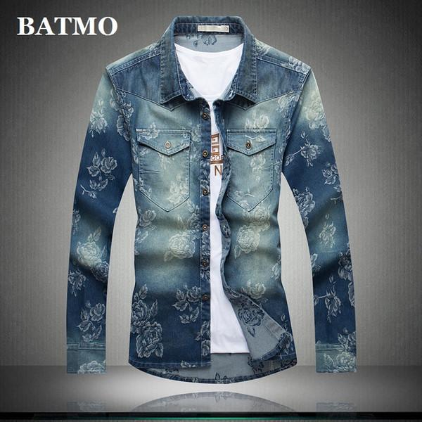 Batmo 2019 yeni varış yaz yüksek kaliteli pamuk baskılı casual erkek kot gömlek, akıllı rahat gömlek erkekler, artı boyutu M-5XL 5510