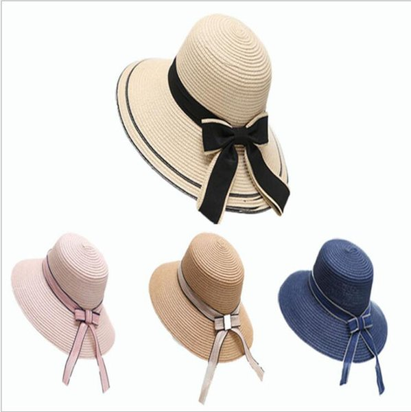 Summer Outdoor Wide Brim Hats Women Casual Caps Fashion Beach Hats For Lady Bow-tie Khaki Hat