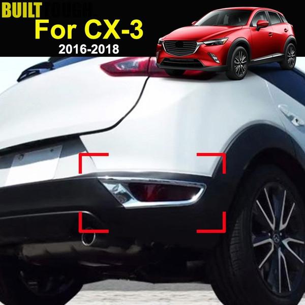 Para Mazda CX-3 CX3 2016 2017 2018 Cromado Reflector trasero Lámpara de luz antiniebla Cubierta de luz de niebla Recortar Parachoques Moldura Marco Decoración de bisel