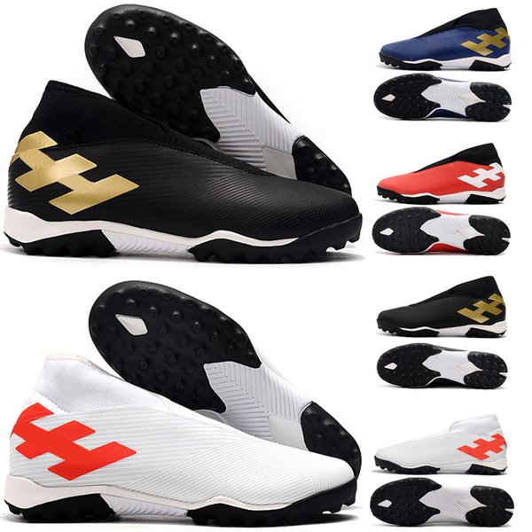 Arrivée Mens Nemeziz 19,3 Laceless FG TF de football Chaussures de sport Messi Chaussures Crampons soccer intérieur Chaussures
