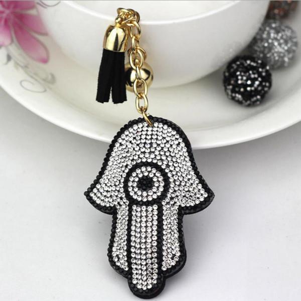 Großhandel versilbert Hamsa Fatima Hand Strass Charms Palm Keychain Mode für Autoschlüssel Ring Zubehör