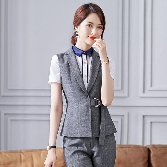 Moda formal para mujer Chaleco gris Mujeres Chaleco Ropa de trabajo Ropa Uniformes de oficina Estilos OL