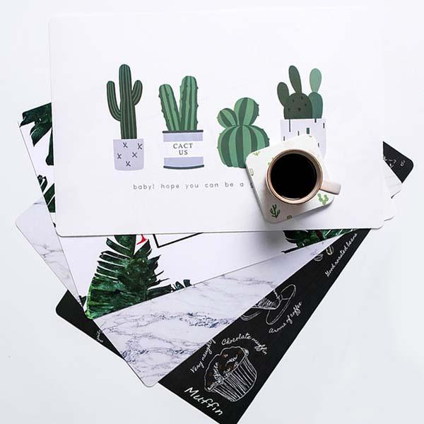 Table Mats Green Leaves Pattern PP Resistant Pad Insulation Dining Table Mat Bowls Coasters Kitchen Accessories