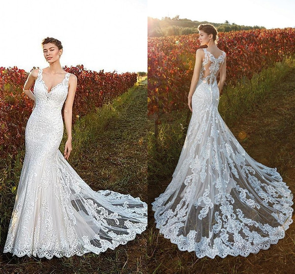 Country Style 2020 Lace Wedding Dresses Mermaid Deep V Neck Plus