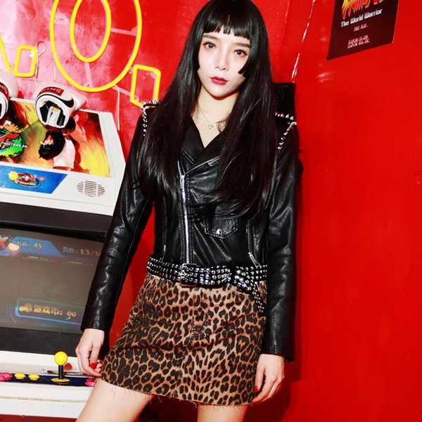Rivets Beading Rock Punk Jacket Women Autumn Zipper Belt Faux Leather Pu Jacket Short Street Motorcycle Biker Female Coat