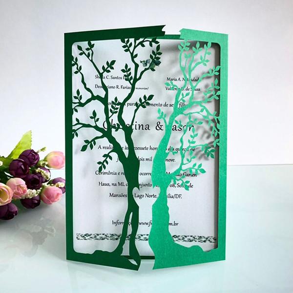 2019 Nuovi biglietti di nozze Festa di compleanno Festa degli insegnanti Biglietto d'invito albero verde scuro Laser Scava fuori inviti di nozze di carta