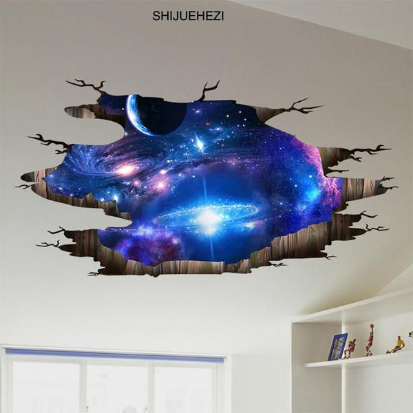 Toptan-SHIJUEHEZI Evren Galaxy 3D Duvar Çıkartmaları PVC Malzeme Duvar Çıkartmaları Çocuk Odaları için Modern DIY Ev Dekor Tavan Dekorasyon