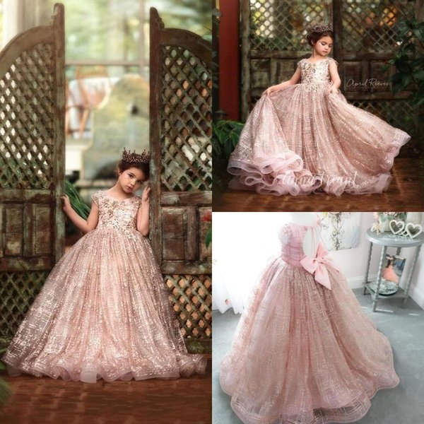 best selling 2020 Princess Luxury Little Girls Pageant Dresses Lace 3D Floral Appliqued Beads Jewel Neck Lace Flower Girl Dress for Wedding Party Gowns