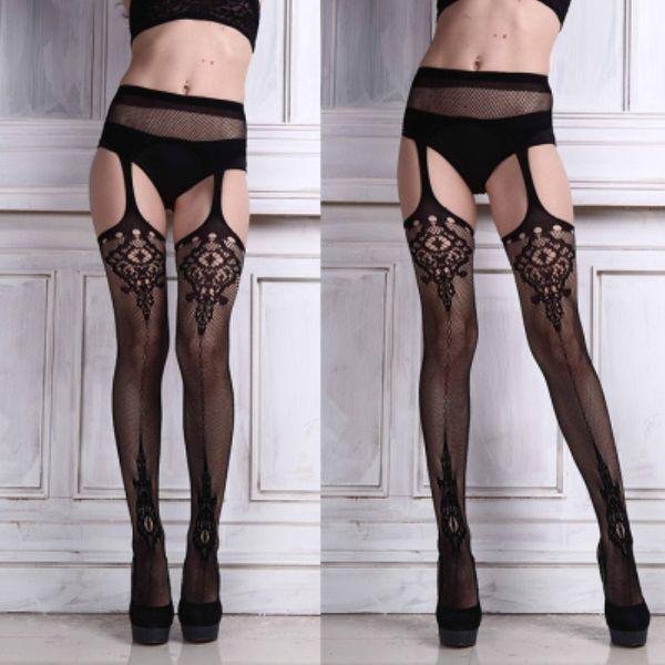 Fashion Sexy Womens Lingerie net Lace Top Garter Belt Thigh Stocking Pantyhose stocking bel Black Acrylic Hot Sale Drop shipping #419790