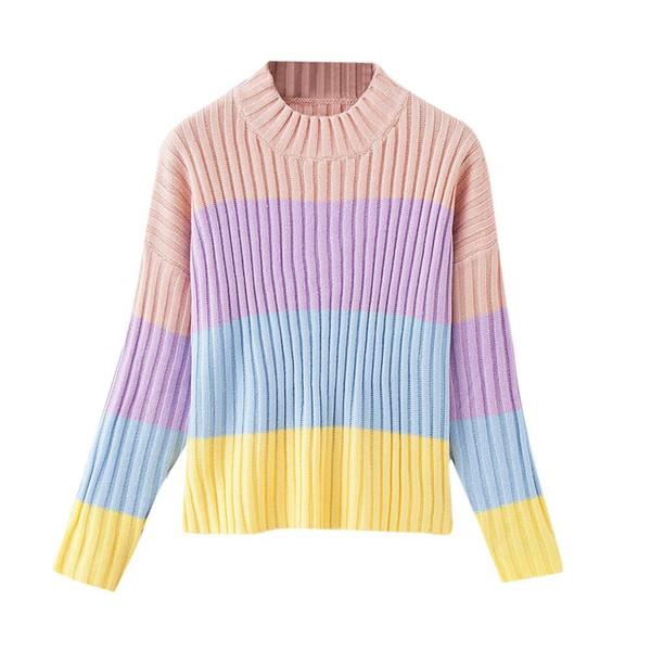 Femmes Multicolor Stripe À Manches Longues Tricoté Pull Blouse Pulls Rainbow rayures multicolore 2019 Automne Et D'hiver nouveau 717