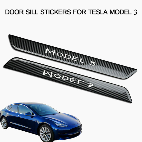 Carbon Fiber Stainless Steel Door Sill Scuff Plate Guard Trims For Tesla Model 3/Carbons Fibers Stainless Steels Doors Sills Scuffs Plates