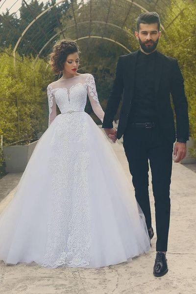 2019 arabe Dubai Designer Plus taille robes de mariée robes de mariée Bateau manches longues robe de mariée