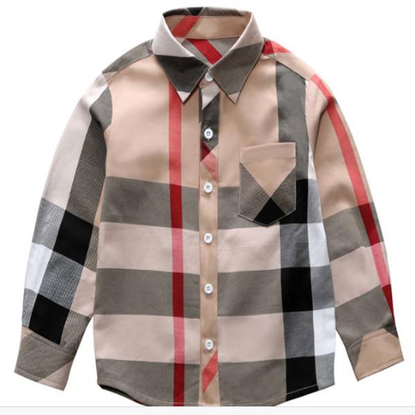 top popular Hot sale Fashion boy kids clothes 3-8Y Spring new long sleeve big plaid t shirt brand pattern lapel boy shirt Wholesale EJY766 2021