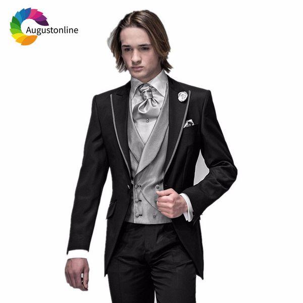 Italian Black Men Suits for Wedding Silver Grey Vest 3Pieces Vintage Slim Fit Groom Tuxedos Man Blazers Jacket Costume Homme