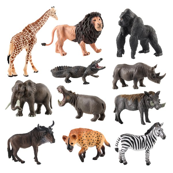 best selling 11 Pack Plastic Wildlife Collection Solid Animals Action Figures for Kids Party Simulation Figuration Toys Model with Storage Box