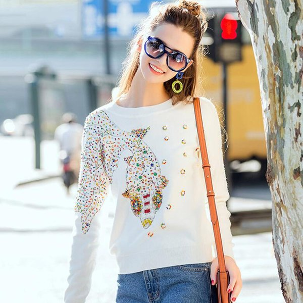 celticer / Herbst Weiblich Marke Designer Modische High Street New Pullovers-Rundhalsausschnitt mit Zopfmuster Goldfisch Perle Frauen Pullover