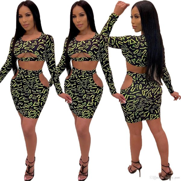 Woman Leopard Printed Two Pieces Set Long Sleeve Cut Out Crop Tops High Waist Package Hips Mini Skirt Suit Street Wear