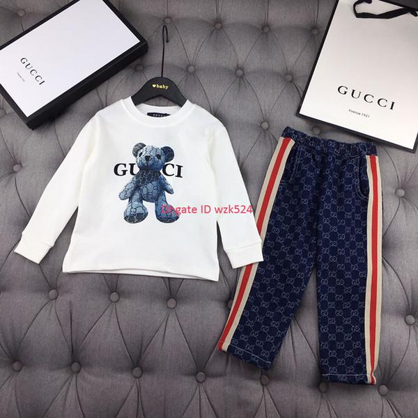 Осенняя мода мальчик футболка комплект детская дизайнерская одежда футболка с длинным рукавом + промытые джинсовые буквы крючком цветочные брюки 2 шт. Набор медведь