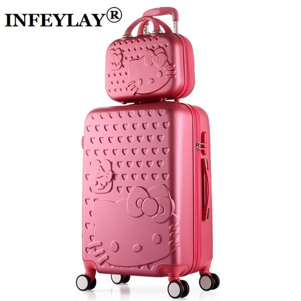 2 UNIDS / SET Preciosa bolsa de cosméticos de 14 pulgadas hola gatito 20 24 pulgadas niña estudiantes maleta de viaje mujer equipaje maleta con ruedas
