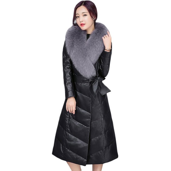 Female Outwear 2018 Winter New Women's High imitation Fox Fur collar PU leather Leather Long temperament Down Jacket Coat ZS542