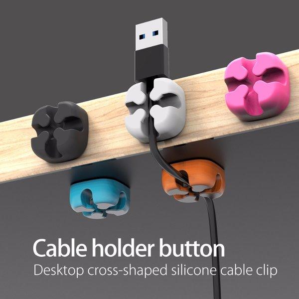 싼 와인 더 오리코 10 PCS 미니 실리콘 케이블 주최자 와이어 와인 더 클립 와이어 USB 케이블 홀더 스틱 사무실 홈 데스크에 대 한