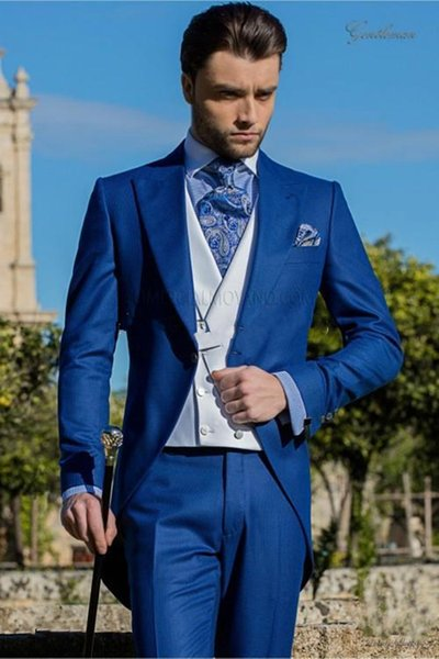 Morning Style One Button Blue Wedding Groom Tuxedos Peak Lapel Groomsmen Mens Dinner Blazer Suits (Jacket+Pants+Vest+Tie)