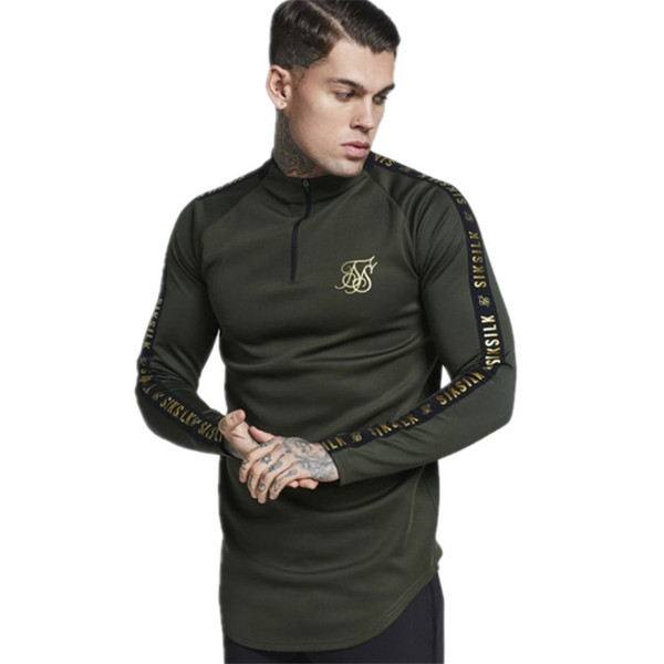 Fashion Mens Stretch Tshirt Solid Color Turtleneck High -Elastic Long Sleeve T Shirts Men Slim Casual Mens T-Shirt Size M-2XL