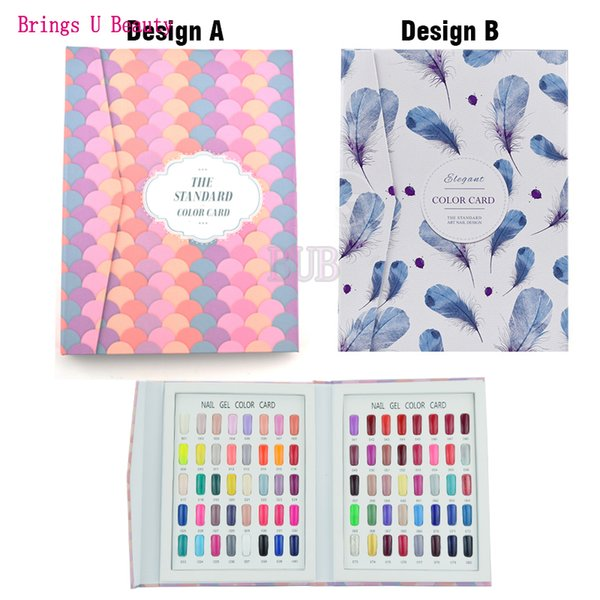 80 Colors Professional Fan-shaped/Feather Pattern Nail Gel Polish Display Book Chart + 120 False Tips for this Book for Salon