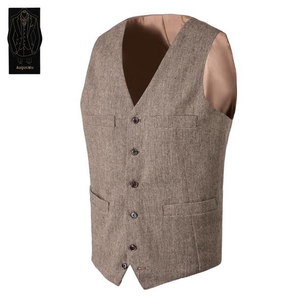 Vintage Brown tweed Vests Wool Herringbone British style custom made Mens suit tailor slim fit Blazer wedding suits for men AS36