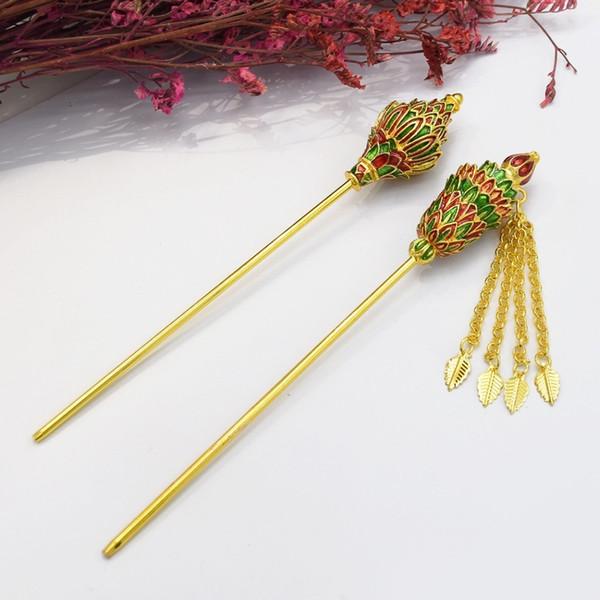 Chinese Ethnic Southeast Asian Gold Metal Flower Tassel Hair Sticks Headpiece Hairpin For Women Hair Accessories Thailand Indian C19010501