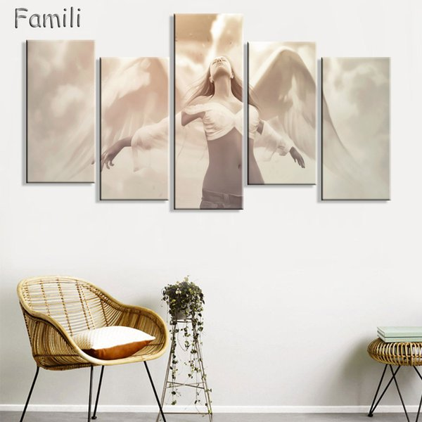 5Panels large HD printed oil painting Angel Girl canvas print art home decor idea wall art pictures for living room