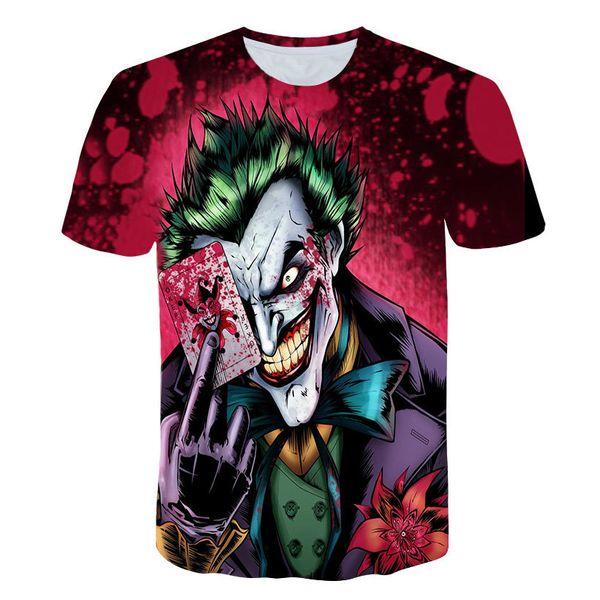 2019 Новый стиль мужской футболки 3d принт зомби клоун 3d футболки покер аниме хип-хоп летние топы тис мода