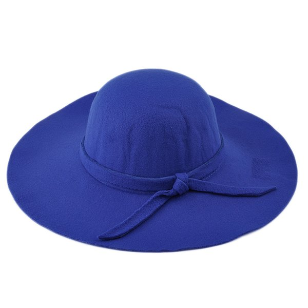 Fashion Women Hat with Wide Brim Wool Felt Bowler Fedora Hat Floppy Cloche Sun Beach Bowknot Cap Fall