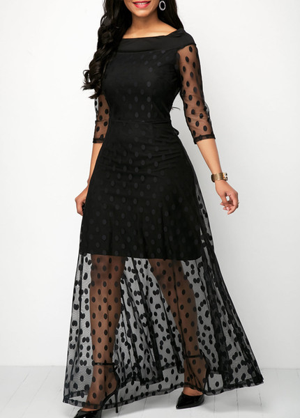 Ladies black dress Europe and the United States stitching wave point gauze Dress 1/2 Sleeve elegant Sexy Evening Cocktail Party dress S-XXL