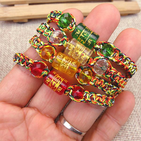 Charm Retro Tibetan Buddhism Handmade Rope Bracelet Men Six Words Mantras  OM MANI PADME HUM Glass Beads Bracelet Silver Rings Personalized Charm