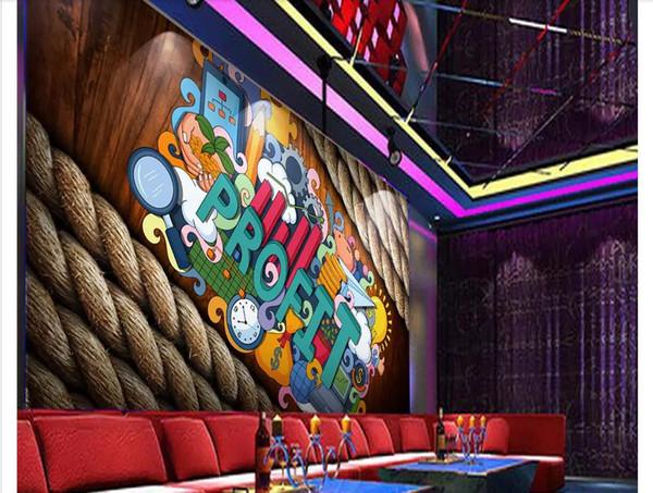 Custom 3d photo murals wall paper home decor Music bar creative graffiti three-dimensional tooling background wallpaper for walls