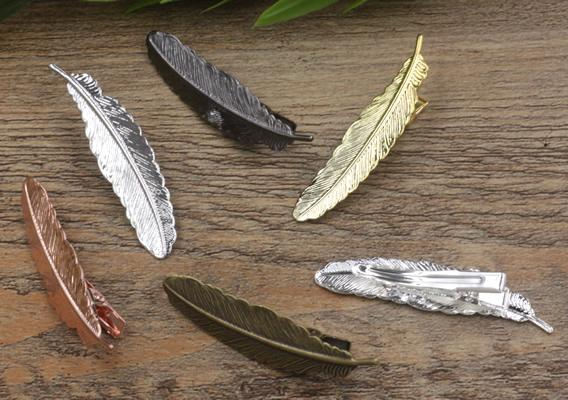 20pcs 35/12*52mm Golden French barrettes feather hair pin vintage Alligator clip metal hairpin silver hairclip antique hairwear jewelry