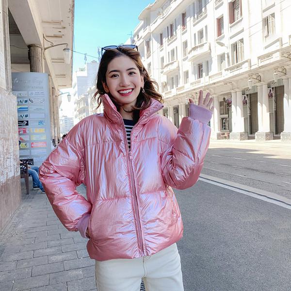 Женские зимние парки 2019 Повседневные толстые теплые блестящие тканевые стойки воротника куртки пальто зимние короткие парки и пиджаки