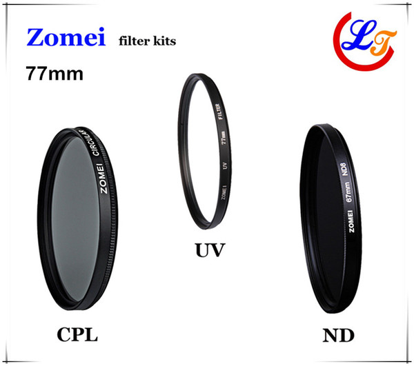 Professional High Qaulity Zomei 62mm 67mm 72mm 77mm UV CPL ND4 Filter Kit Polarizer Glass Filtro Protector Lens for Canon Sony Camera Lens