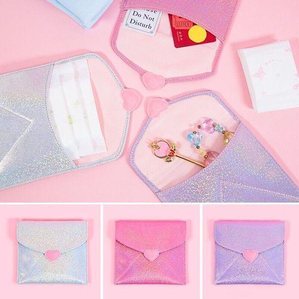 Women Sanitary Napkin Bag Female Solid Clear Tampon Bag Babysbreath Heart Portable Sanitary Bags Girls Card Holder Japan Milkjoy
