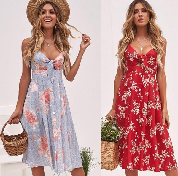 2019 neue Mode Sexy Blumenkleid Boho Frauen Maxi Langes Kleid Sommer Abendgesellschaft Strandkleider 3 Farben SH190709