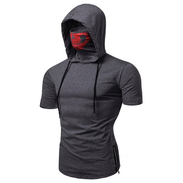 Hot Mens Tshirts Ninja Skull Mask Hooded Short Sleeved Shirts Fashion Zipper Split Tops Summer Clothing