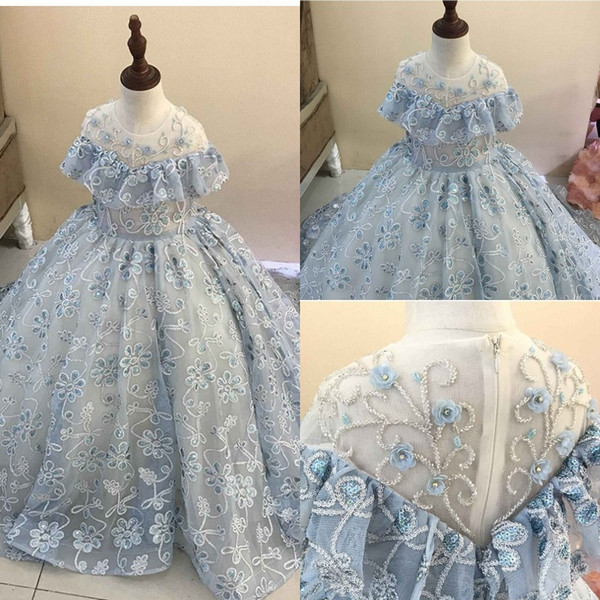 Luxury Lace Beaded Flower Girl Dresses for Weddings Ball Gown Kids Evening Gowns Light Blue First Communion Dresses 2020