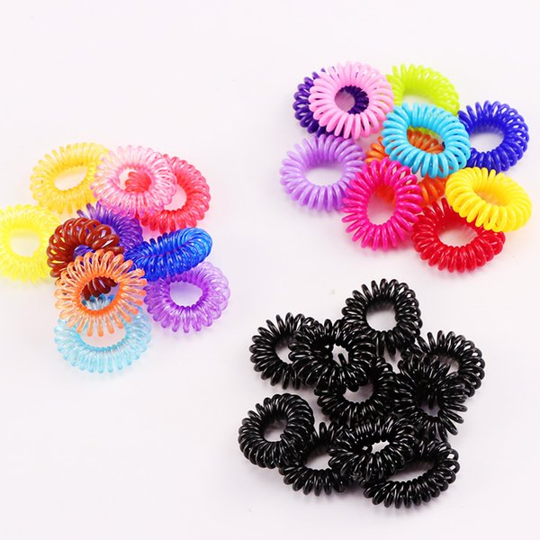 10PCS New Small Telephone Line Hair Ropes Girls Colorful Elastic Hair Bands Kid Ponytail Holder Tie Gum Hair Accessories
