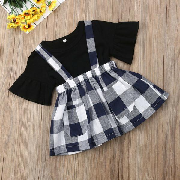 Yeni Bahar Yürüyor Bebek Kız Etekler Kıyafetler Üstleri T-Shirt Ekose Desen Kısa Etek Giysileri Çekler