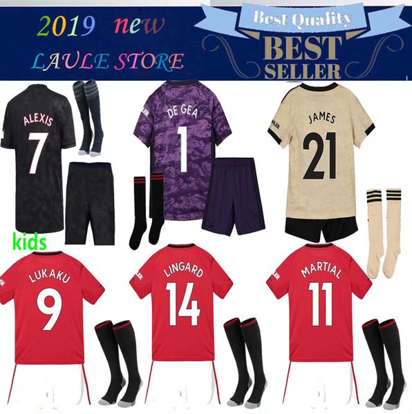 2020 homens crianças manchester FUTEBOL JERSEY 19/20 kit adulto POGBA ALEXIS LINGARD KITS MAILLOT DE PÉ UNIDO camisa de futebol KITS com meias