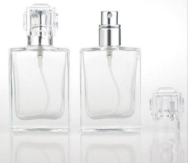 Botellas de spray de perfume de vidrio de 30 ml Botellas de spray transparentes portátiles con atomizador de aluminio Estuche cosmético vacío para viajes
