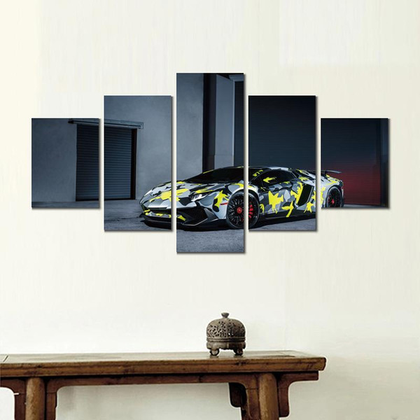 5 sets lamborghini aventador lp sv canvas print arts pictures for dining room decor