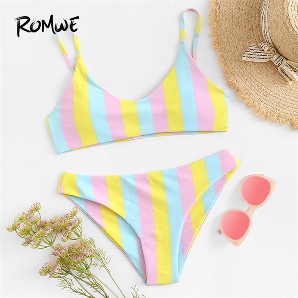 Costume da bagno bikini a righe multicolor sportivo da donna Costume da bagno bikini sexy a triangolo con pettorina da donna Costumi da bagno estivi