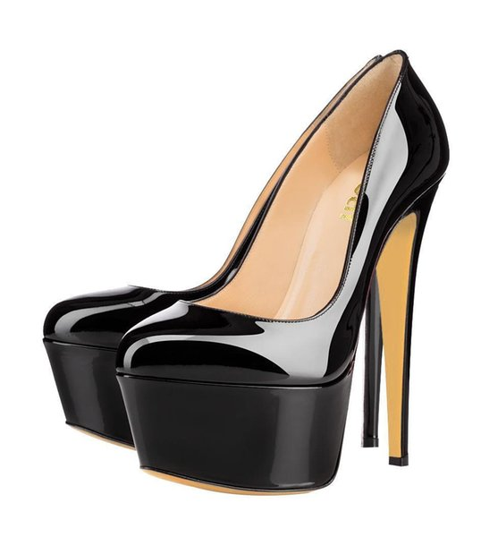 Sexy2019 Luxury 14 Colors Red Bottom High Heels Wedding Round Toe Patent Leather Platform Pumps Lady Dress Shoes